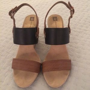 Anne Klein iFlex Brown & Blue Cork Heel Wedges